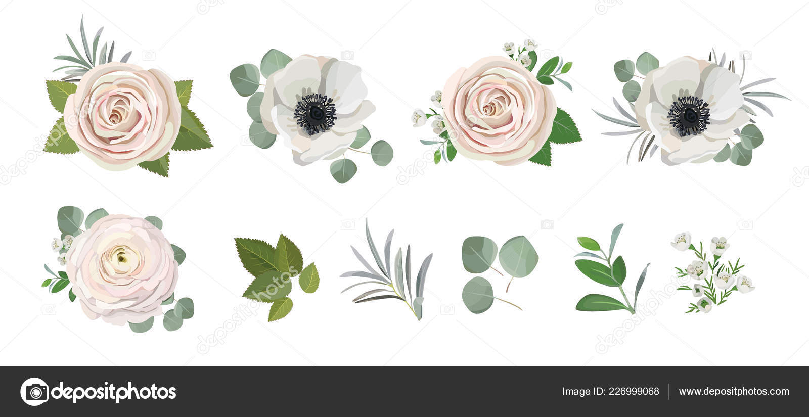 Anemone Ranunculus Eucalyptus Rose Peony Flowers And Eucalyptus Branches Bouquet Vector Illustration Hand Drawn Floral Elements Set For Greeting Cards Wedding Invitations Vector Image By C Magic Lola Vector Stock 226999068
