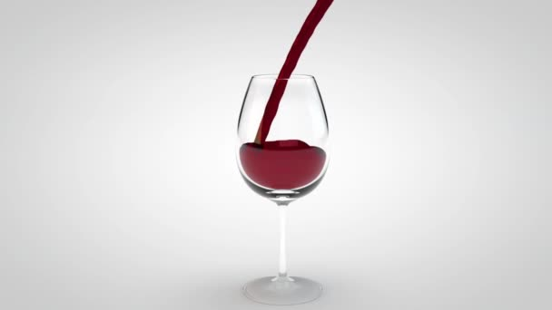 Wine glass with splashes of red wine. 3d animation