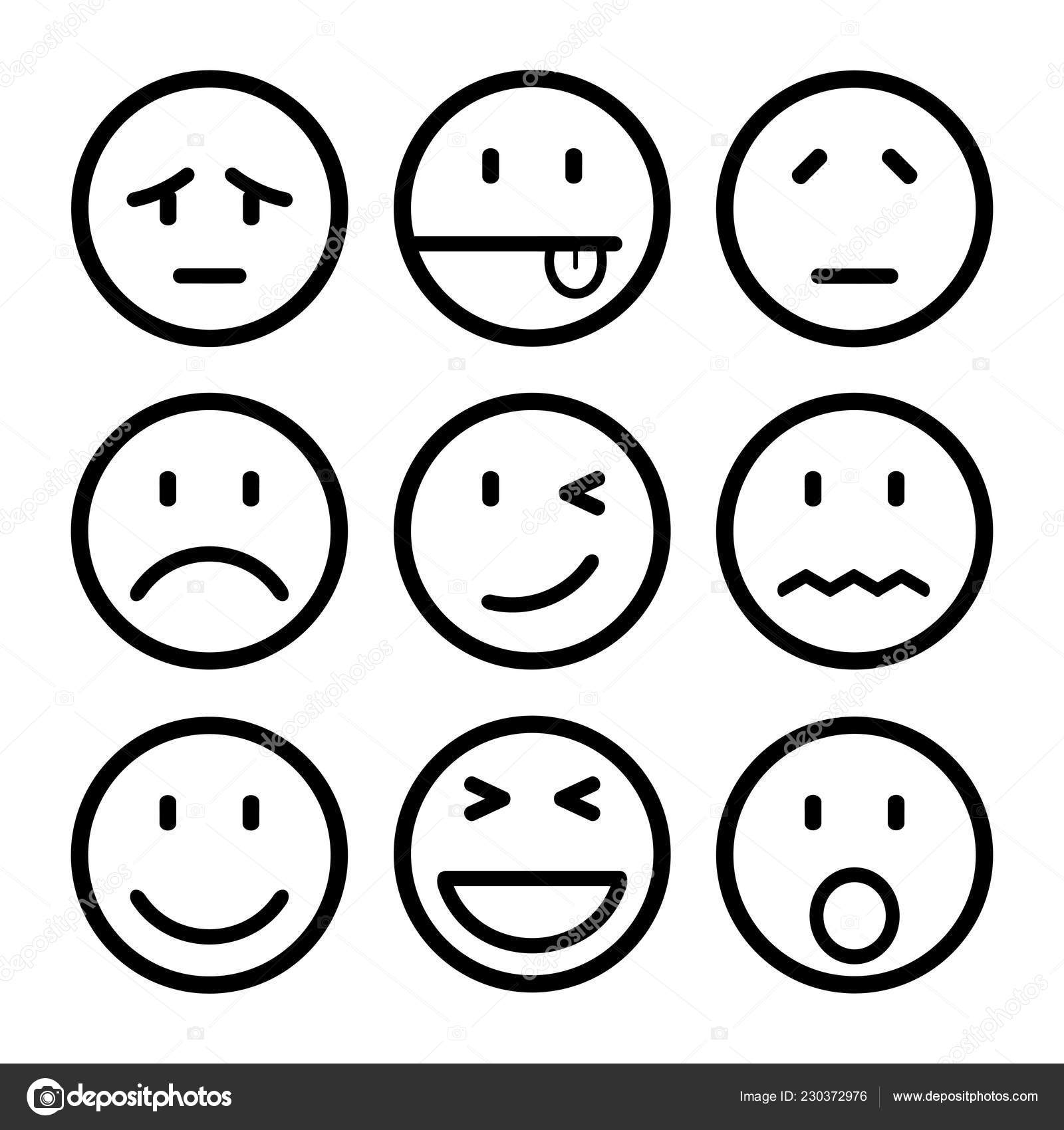 Devet Smajliku Set Smajlik Emoce Tim Smajliky Kreslene Emotikony