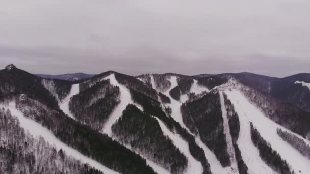 Aerial view of ski resort in the mountains.