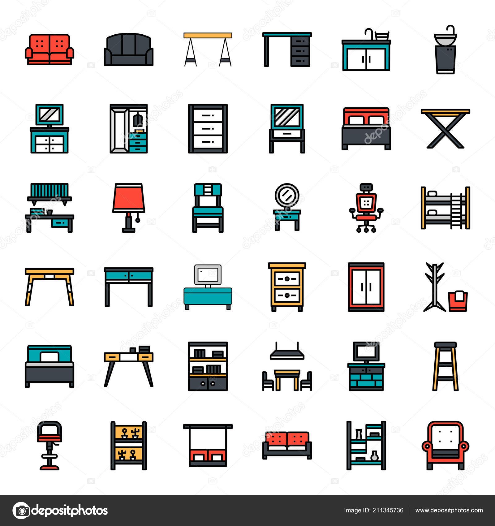 Möbel übersicht Symbol Haushalt Isoliert Auf Weißem Hintergrund