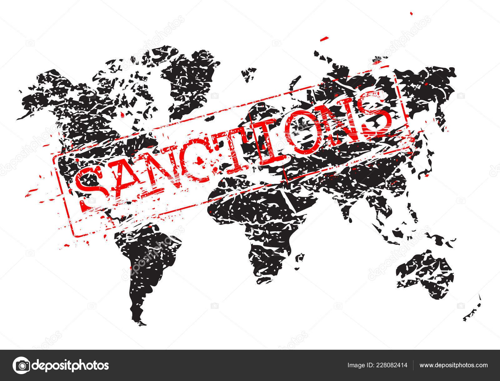 Stamp Sanctions Map Form Grunge Sloppy Shape Concept