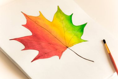 painted maple leaf on a white sheet, red orange green, a brush next to the drawing, drawing at school, children's hand-made crafts, hobbies