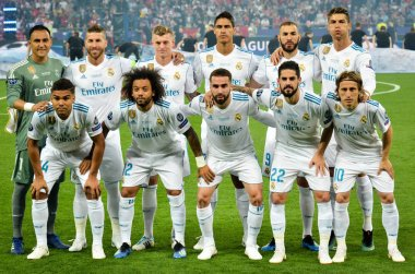 KYIV, UKRAINE - MAY 26, 2018: Full-team photo of the player of Real Madrid before the 2018 UEFA Champions League final match between Real Madrid and Liverpool, Ukraine
