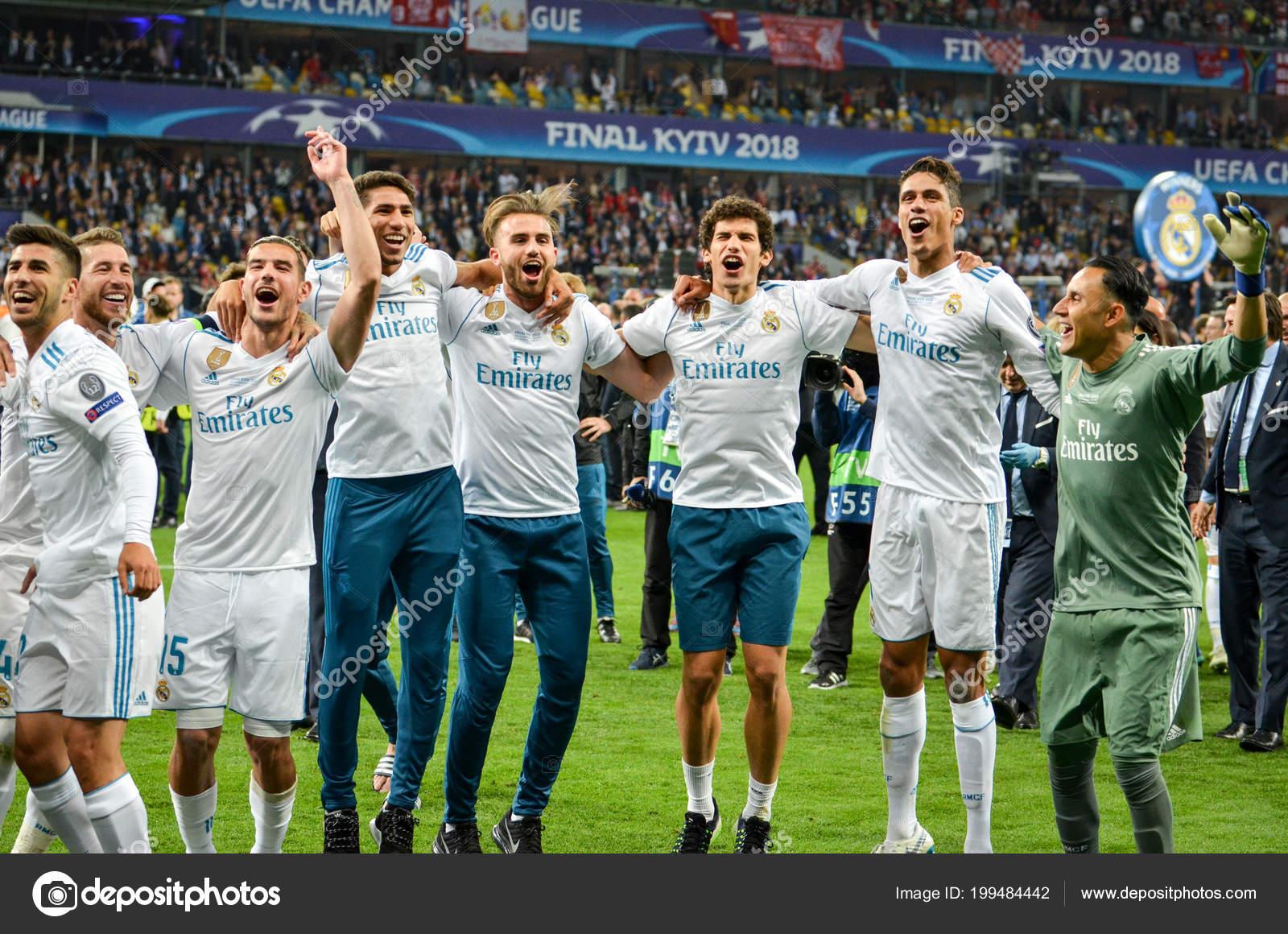 Kyiv Ukraine May 2018 Footballers Real Madrid Celebrate