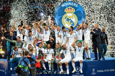 KYIV, UKRAINE - MAY 26, 2018: Footballers of Real Madrid celebrate the victory in the final of the UEFA Champions League 2018 in Kiev  match between Real Madrid and Liverpool, Ukraine