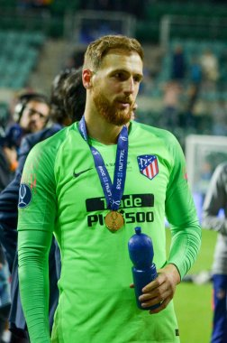 TALLINN, ESTONIA - 15 August, 2018: Jan Oblak celebrate the victory by winning the UEFA Super Cup 2018 after the final 2018 UEFA Super Cup match, Estonia