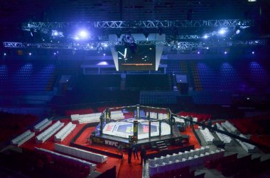 Kiev, Ukraine - March 02, 2019: General view of the ring mma oct
