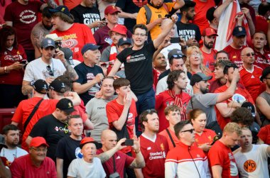 Madrid, Spain - 01 MAY 2019: Liverpool fans in the stands suppor