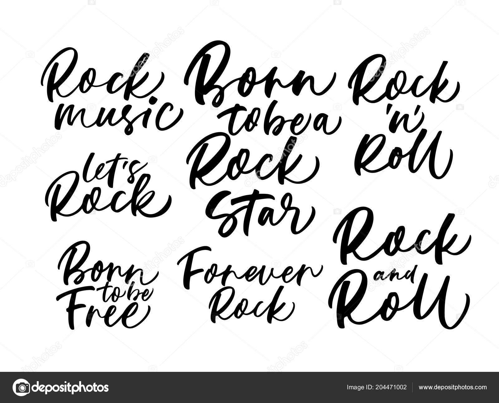 Colección Frases Rock Sobre Fondo Blanco Vector De Stock