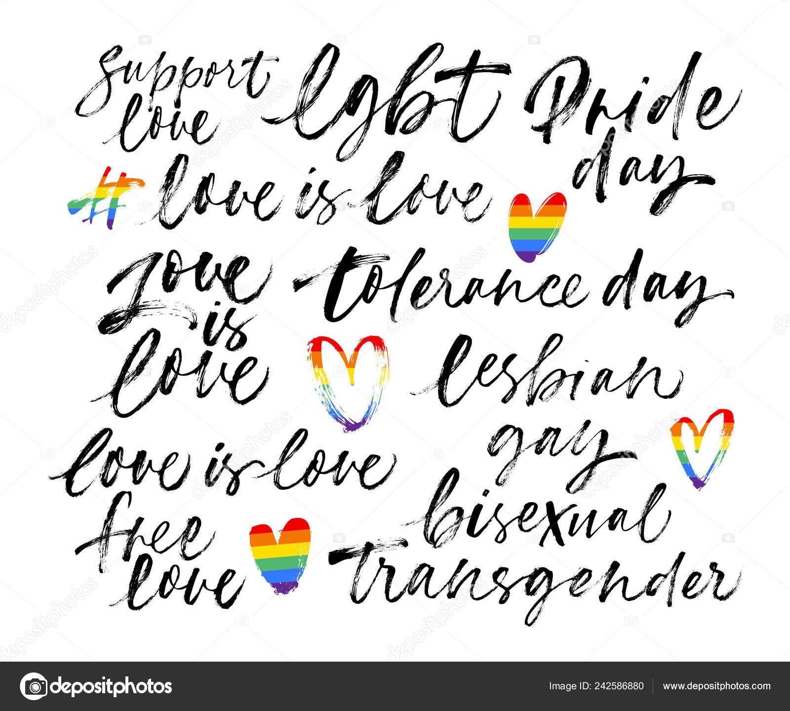 Conjunto Frase Lgbt Lgbt Apoyar Orgullo Libre Amor Gay