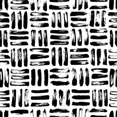 Seamless pattern with grunge grid. Mosaic ornament for wrapping paper, wallpapers, web design etc. Modern monochrome texture.