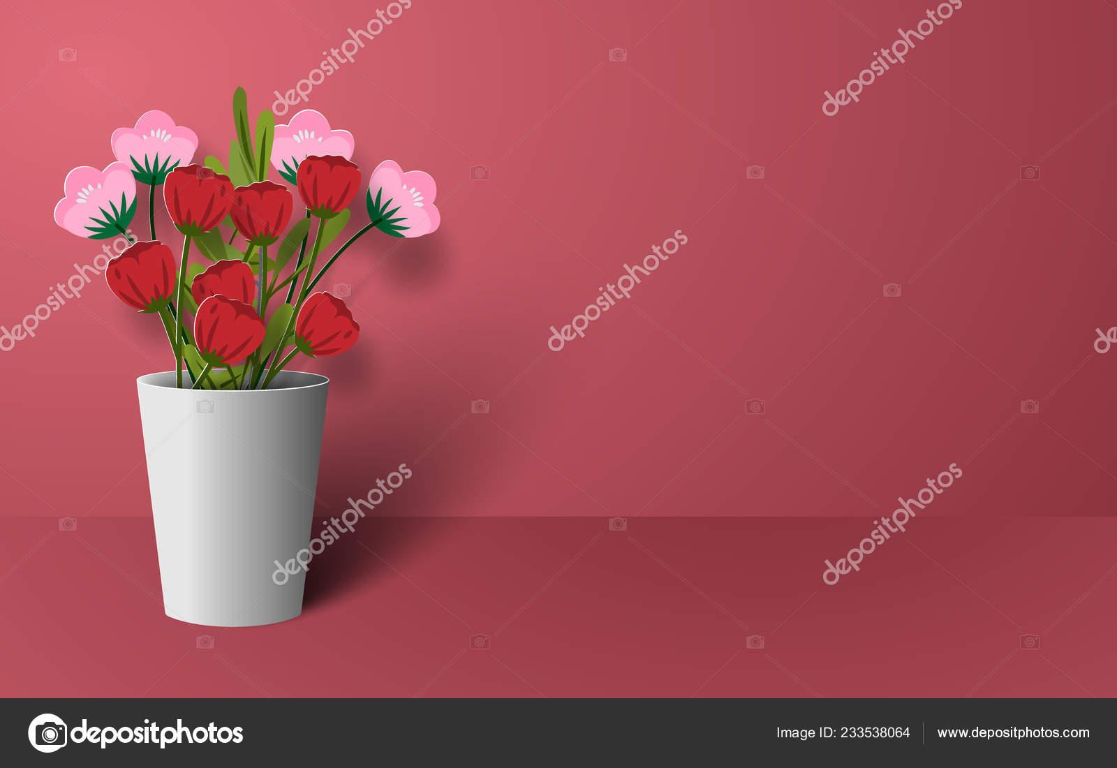 Depositphotos & Origami Paper Art Flower Vase Love Happy Valentine Day ...