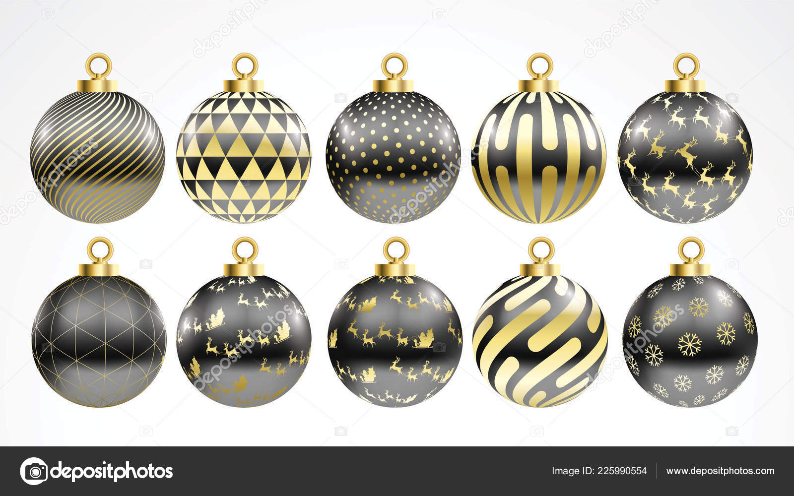 Black Christmas Ornaments.Set Vector Gold Black Christmas Balls Ornaments Golden