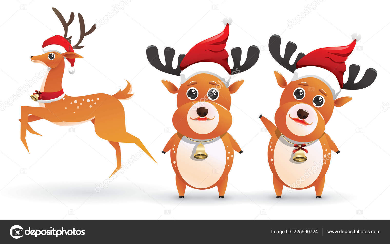 Renne Babbo Natale.Renne Babbo Natale Carino Insieme Immagini Vettoriali Cervi Isolati