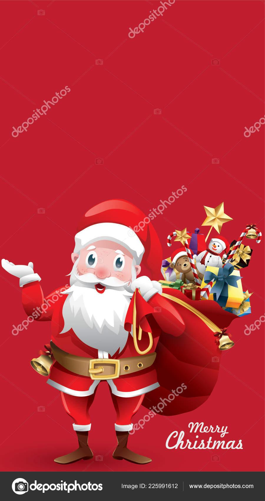 Merry Christmas Happy New Year Red Xmas Cartoon Santa Claus — Stock ...