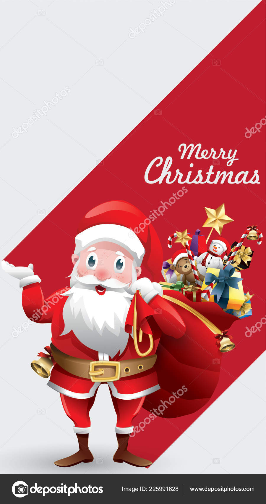 Merry Christmas Happy New Year Red Xmas Cartoon Santa Claus — Stock ...