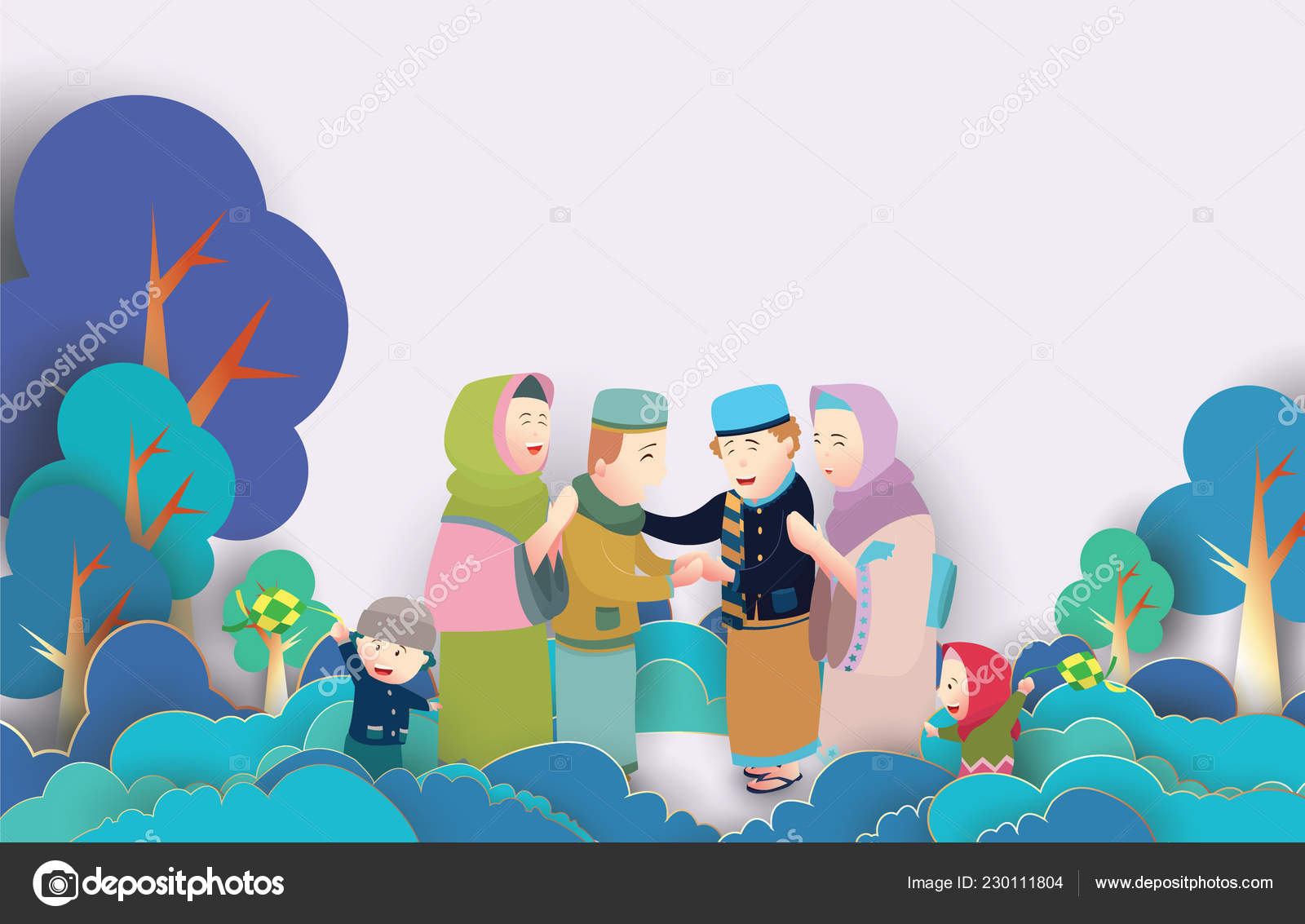Eid Mubarak Vector Illustration Family Character Vector Illustration Greeting Card Vector Image By C Vavectors Vector Stock 230111804