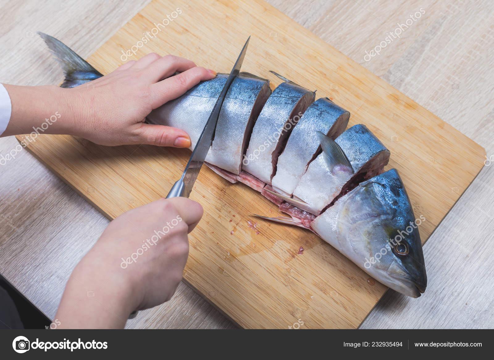 Cook Cuts Raw Tuna Fish Hands Closeup Stock Photo C Ld1012lsk Gmail Com 232935494