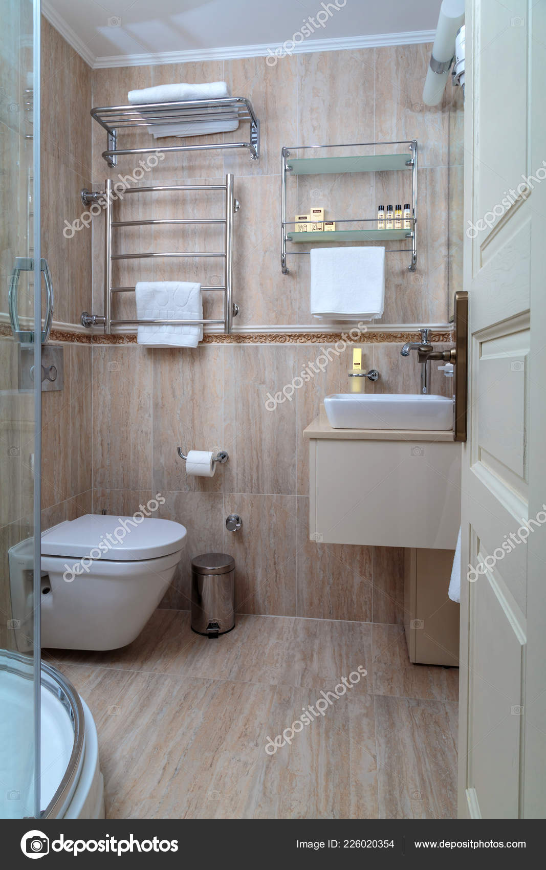 Beautiful White Bathroom Beige Marble Tiles Stock Photo C Padabed 226020354