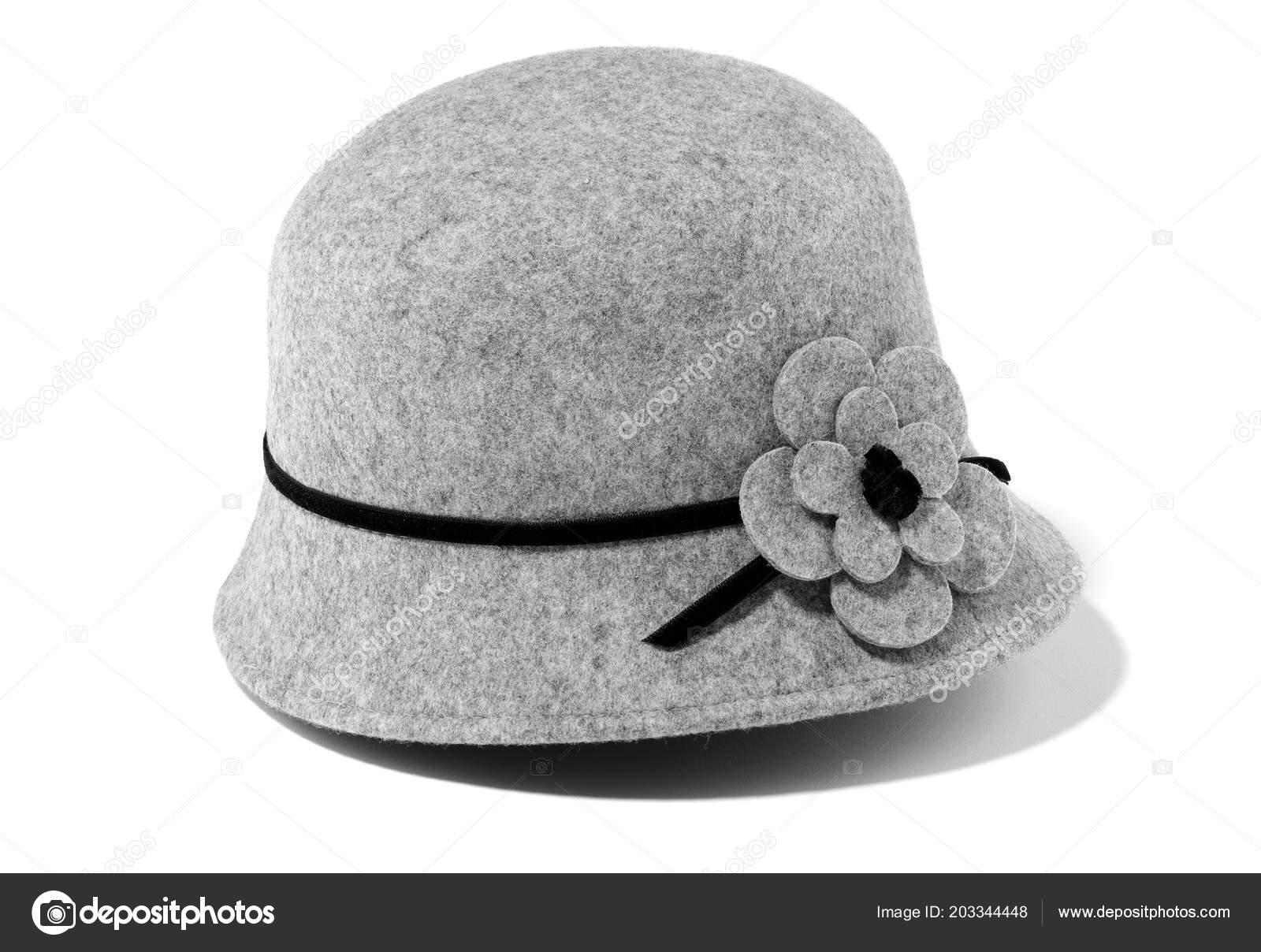 34db29c39c59f Classic Gray Felt Hat Woman Isolated — Stock Photo © estudiosaavedra ...