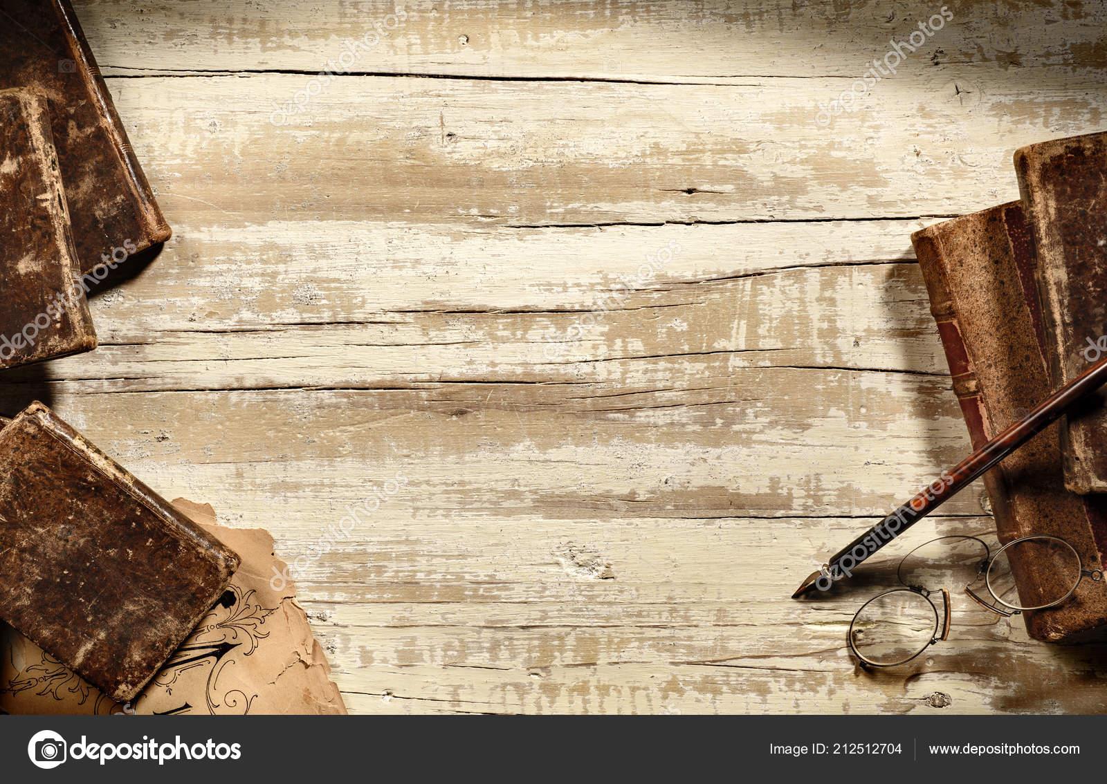 Scrivania Antica Con Vecchi Libri Penna Occhiali Vivono Sfondo