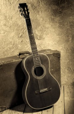 vintage acoustic blues guitar with old baggage, vintage style image