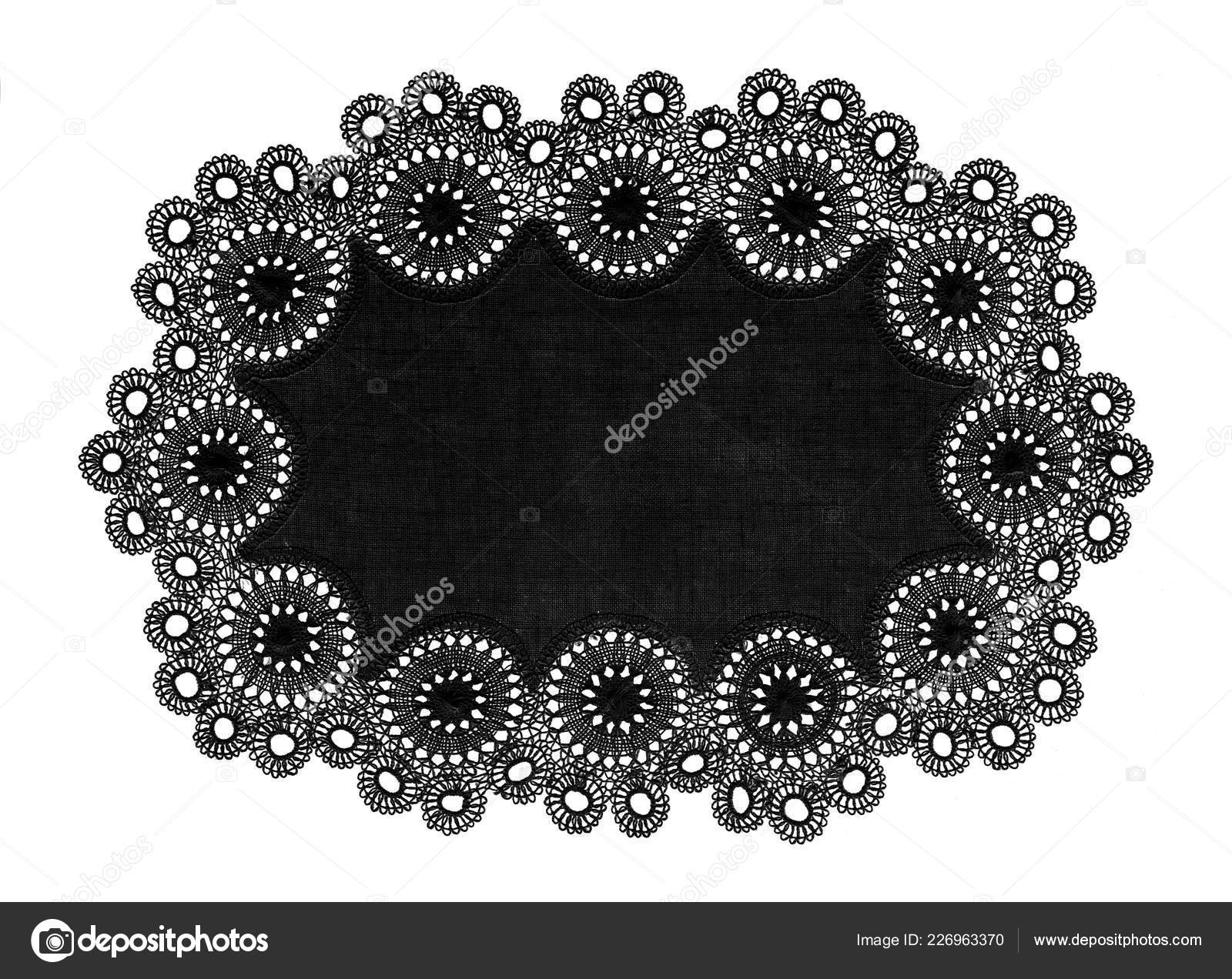 Small Round Table Cloths.Black Artistic Lace Small Table Cloth Isolated Stock Photo