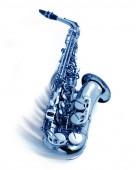 Photo blue jazz saxophone with swing movement, isolated