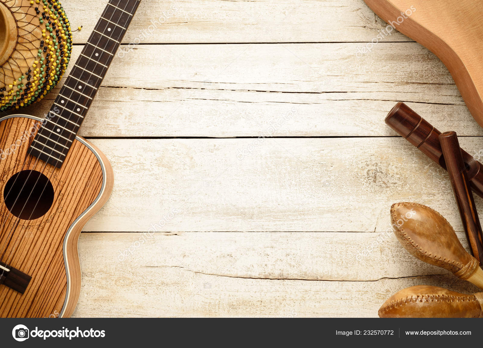 Latin Music Instruments Living Background Top Table View — Stock