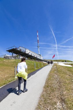 LUZERN, SWITZERLAND - APRIL 25:Telecommunication tower with hotel and restaurant on Rigi Kulm, APRIL 25,2018, Luzern, Switzerland. Telecommunication tower with hotel and restaurant on Rigi Kulm