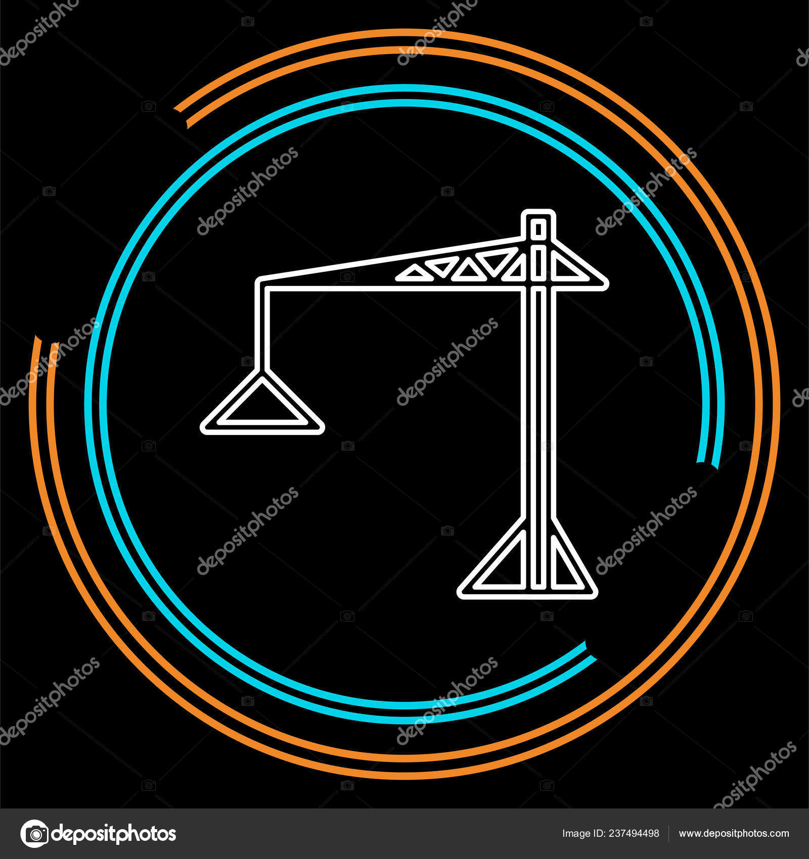 Construction with a crane symbol Clipart | k50754034 | Fotosearch