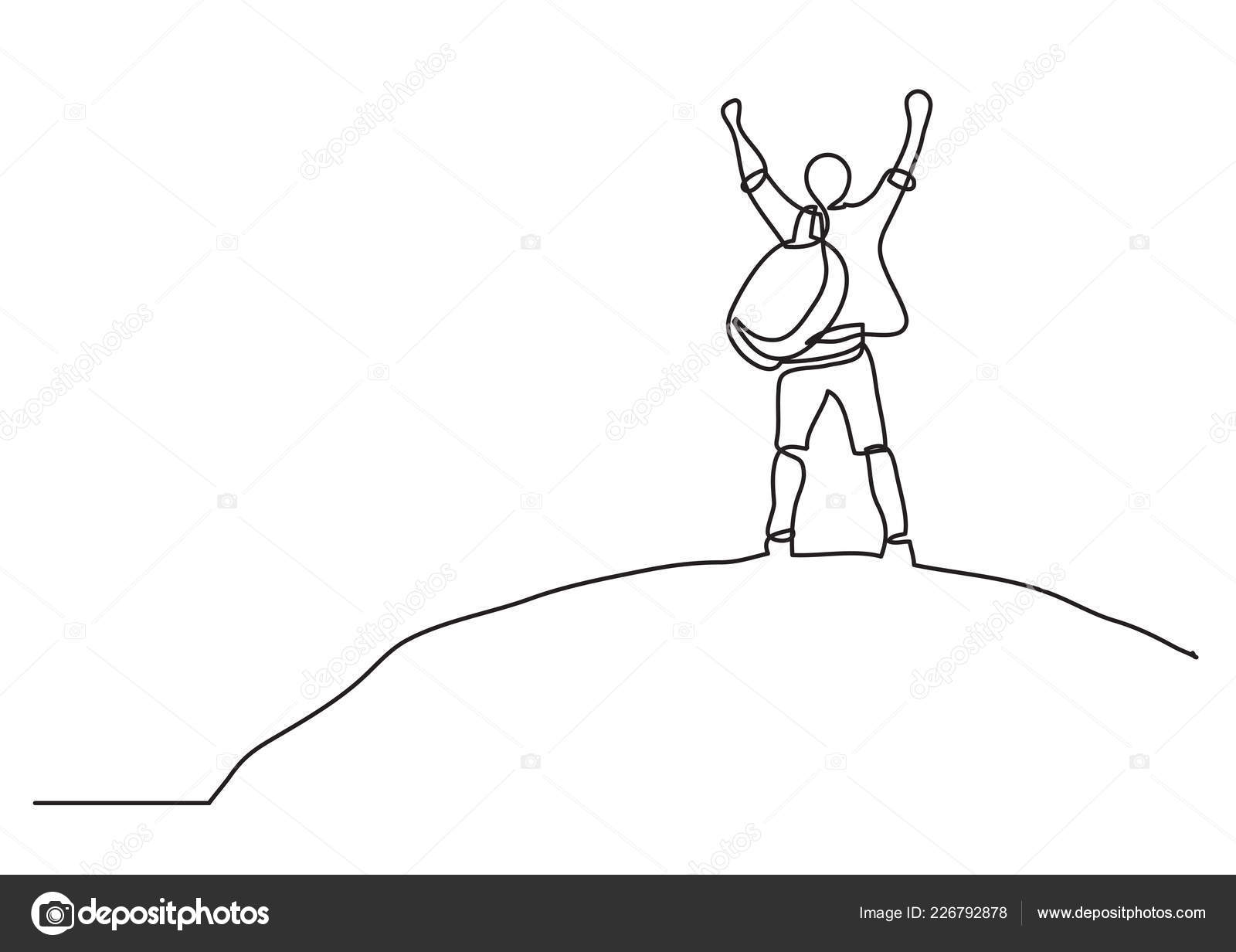 One line drawing man top world stock vector