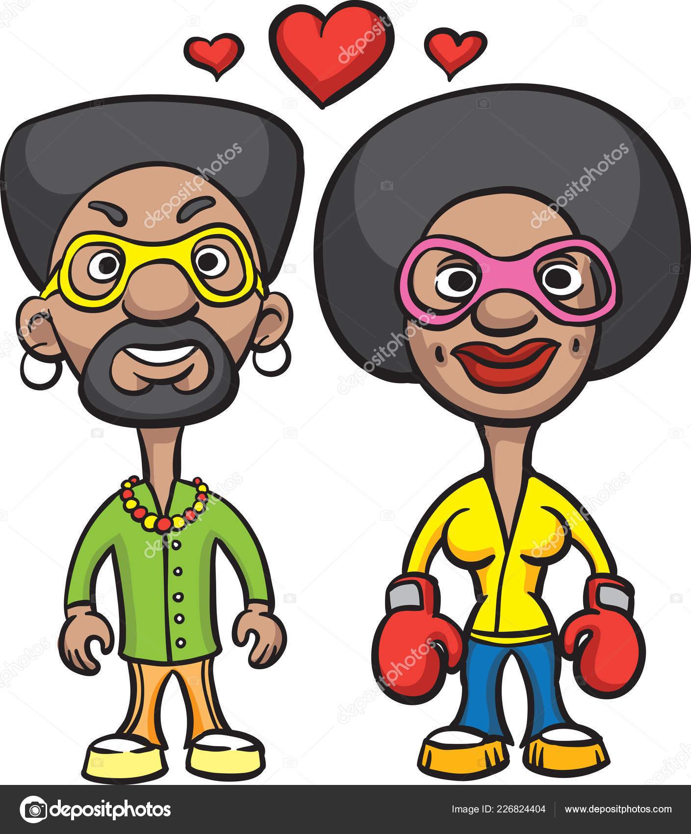 Illustration Vecteur Dessin Animé Avatar Amour Couple Noir