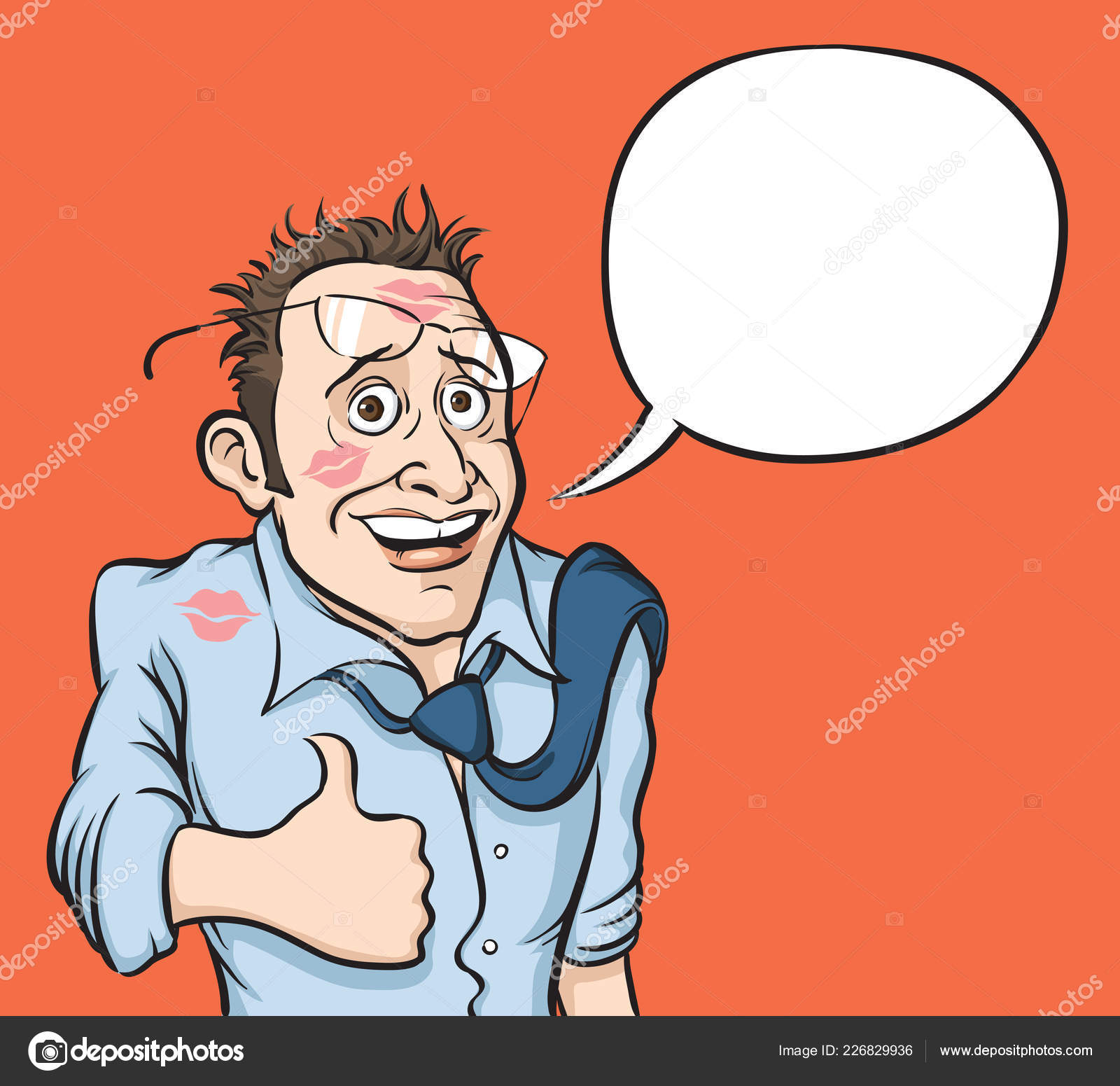 Vector Illustration Happy Satisfied Man Thumbs Speech Balloon Easy Edit —  Stock Vector