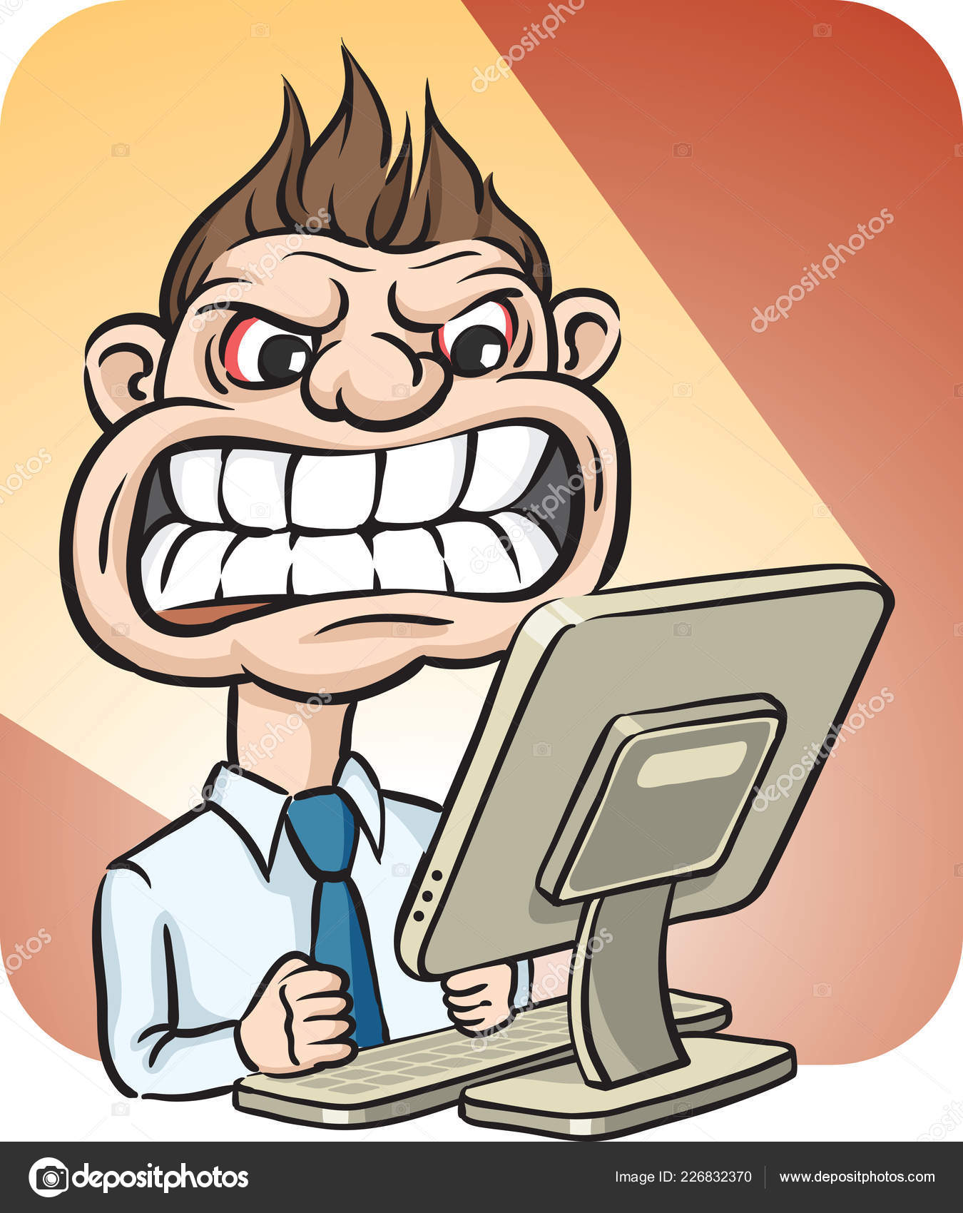 vector illustration scary businessman desktop computer easy edit