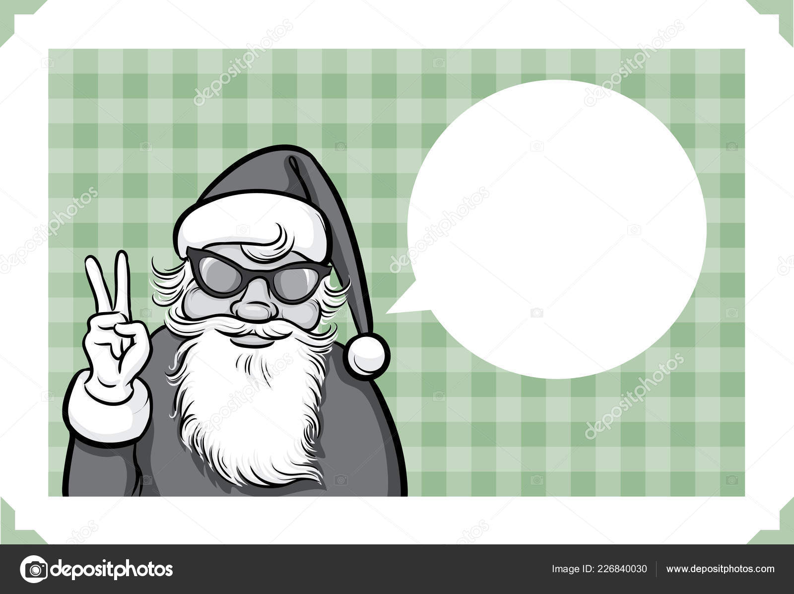 Peace Christmas Sign.Merry Christmas Greeting Card Freak Santa Claus Showing