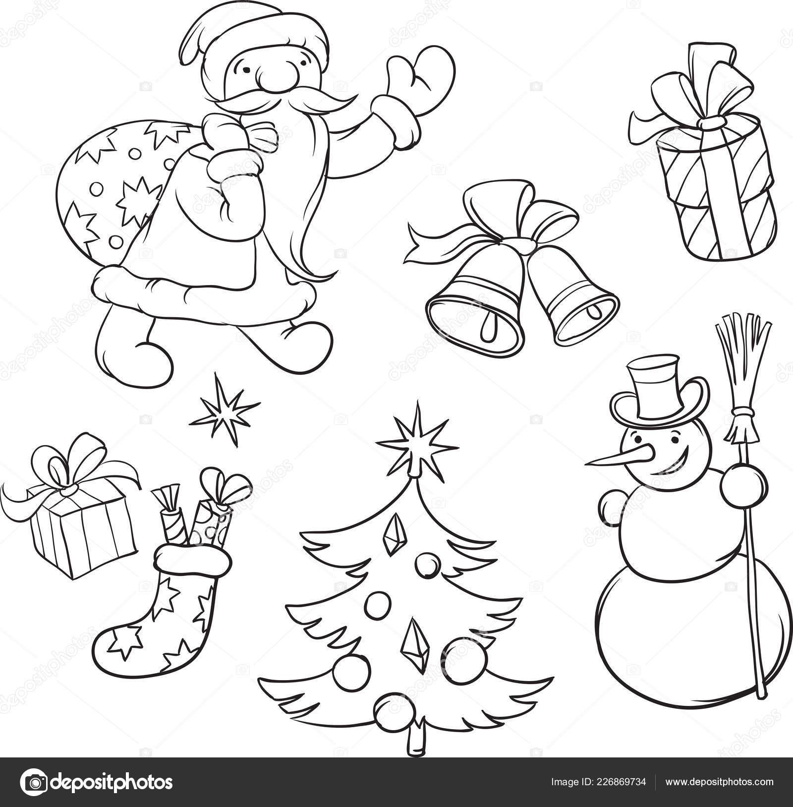 Ilustração Vetor Símbolos Livro Colorir Papai Noel Natal