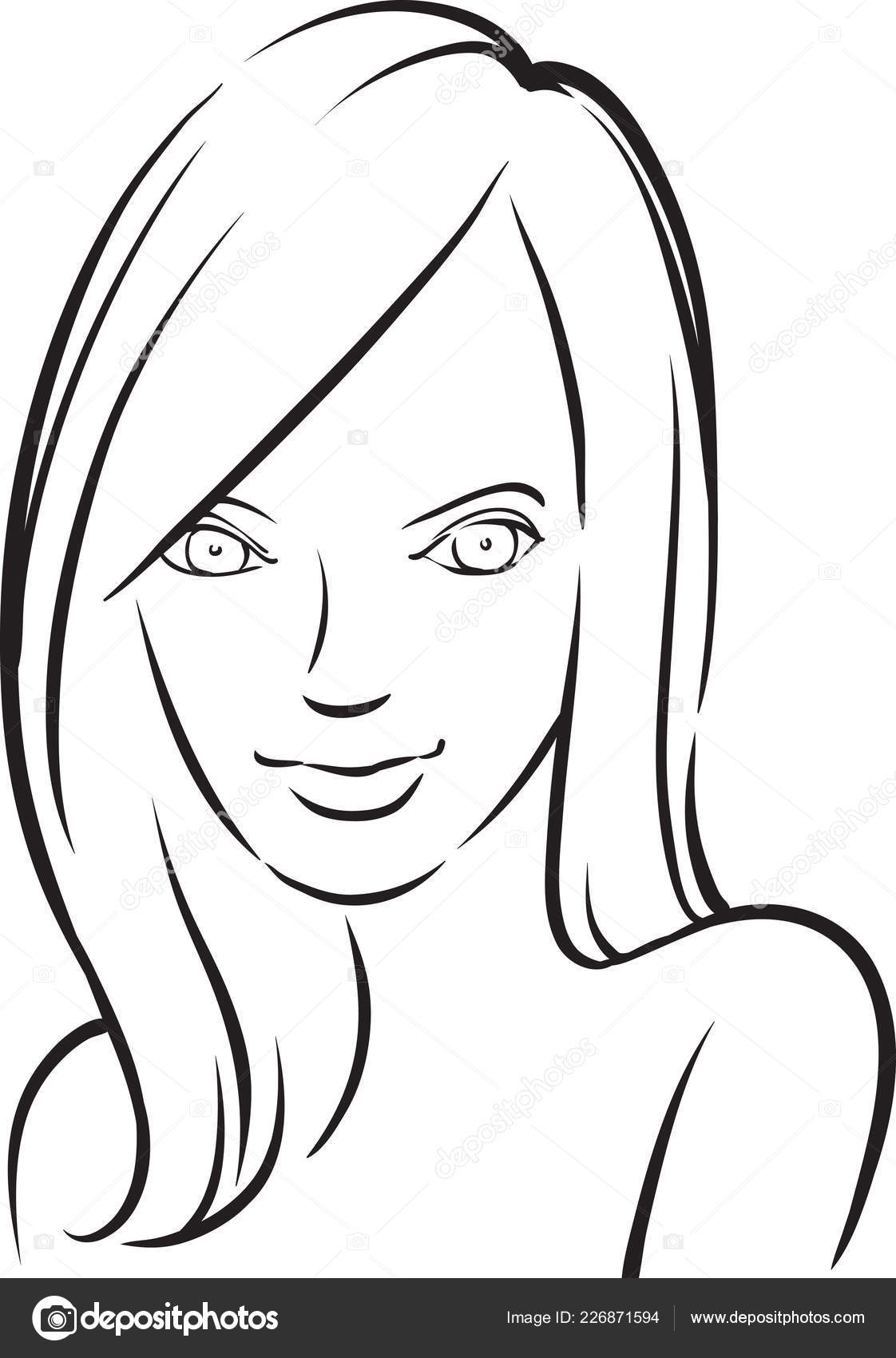 Whiteboard drawing beautiful smiling woman easy edit layered vector eps10 stock vector