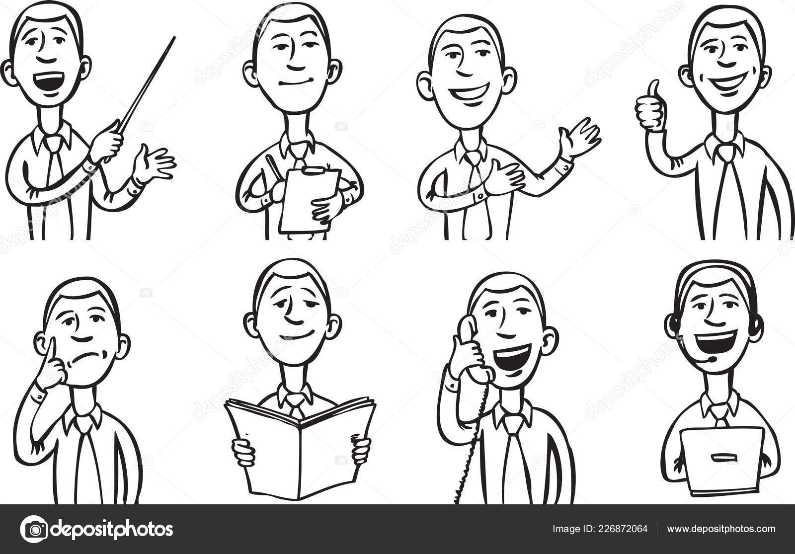 Whiteboard Drawing Businessman Work Easy Edit Layered Vector Eps10