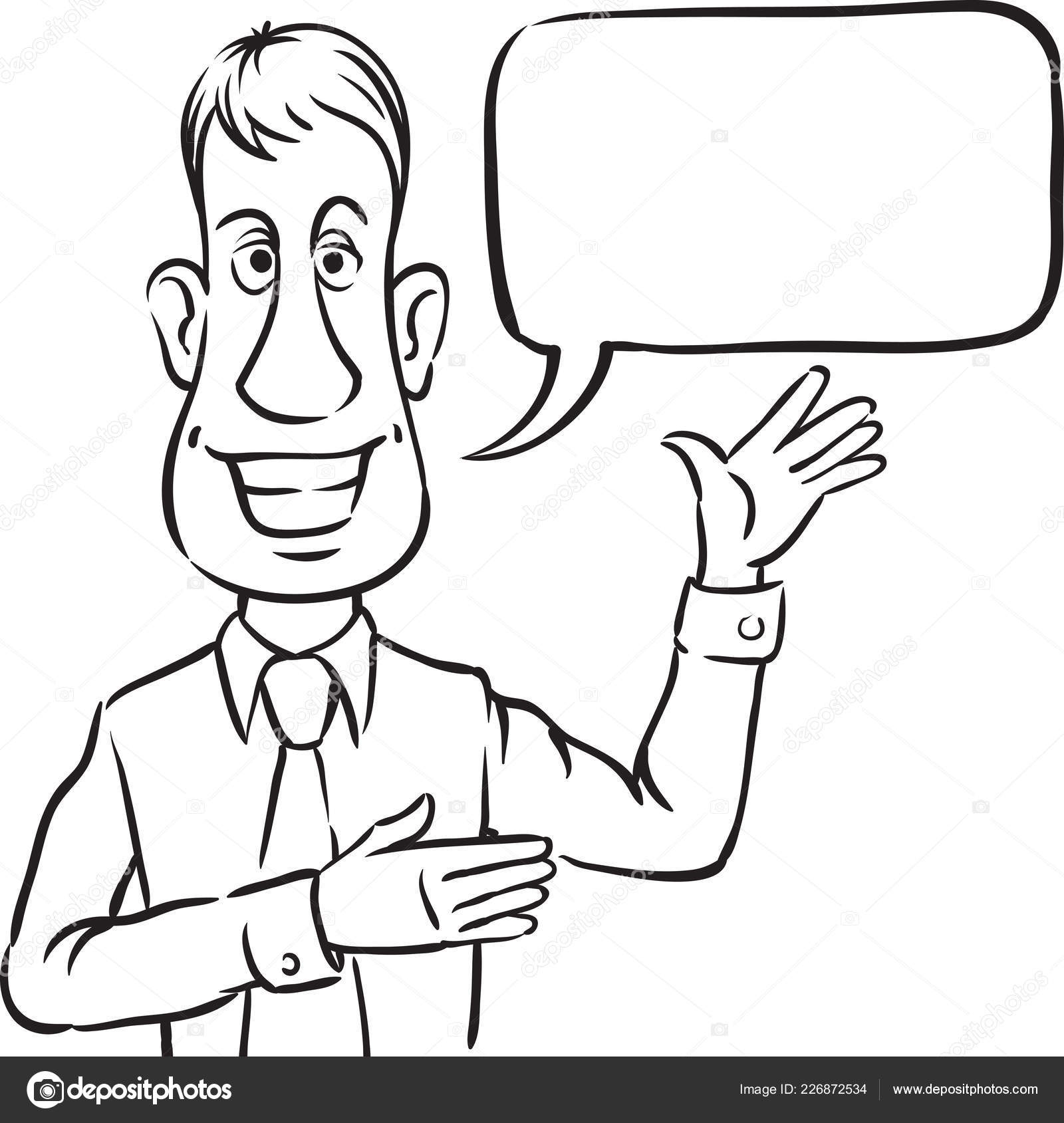 Whiteboard Drawing Businessman Speech Bubble Smiling Pointing Easy