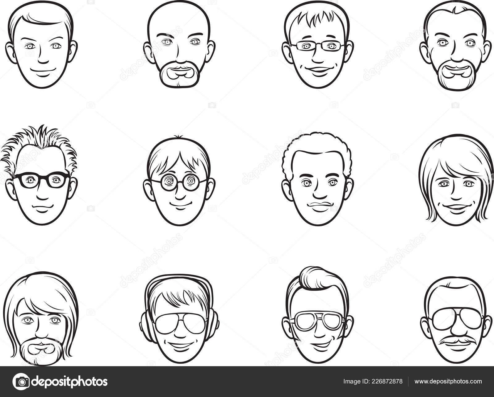 Whiteboard Zeichnung Cartoon Avatar Manner Gesichter Stockvektor