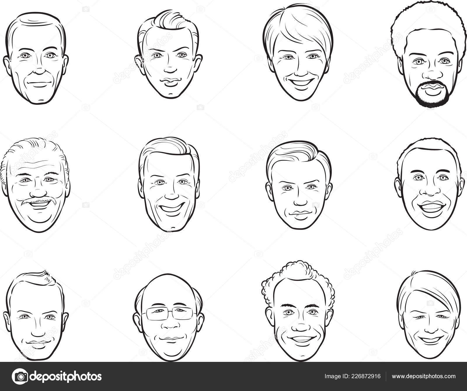 Whiteboard Zeichnung Cartoon Avatar Manner Lacheln Stockvektor