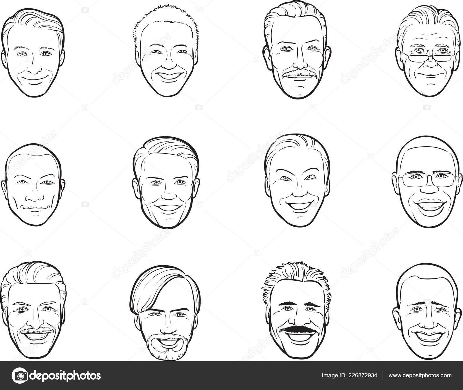 Whiteboard Zeichnung Cartoon Avatar Lachelnde Manner Kopfe