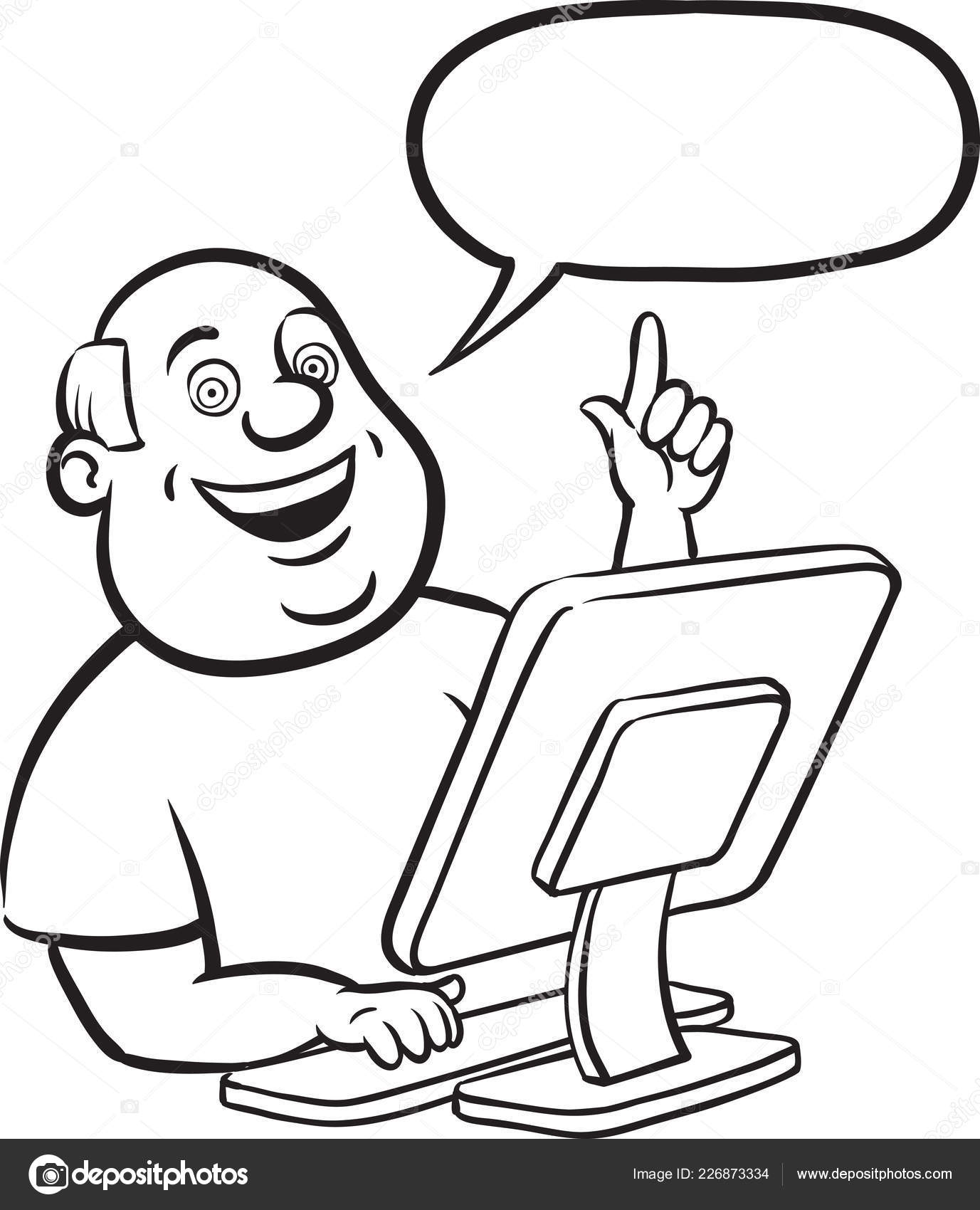 Pizarra Dibujo Dibujos Animados Hombre Gordo Con Computadora