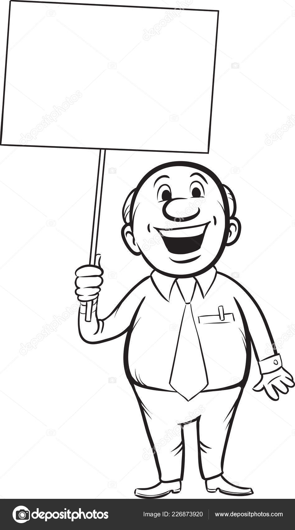 Whiteboard Drawing Cartoon Smiling Businessman Blank Placard Easy