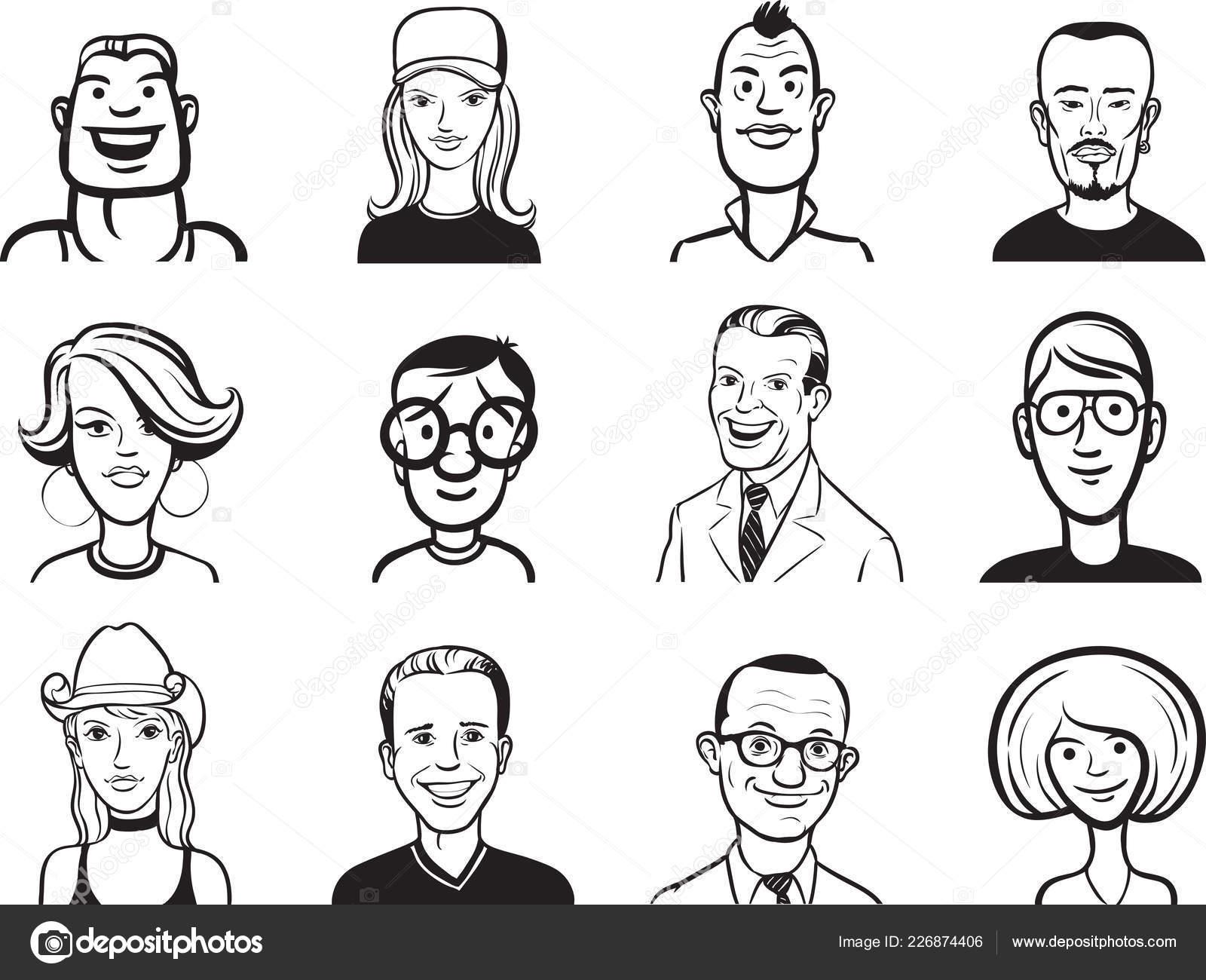 Pizarra dibujo colección caras dibujos animados personas vector de stock