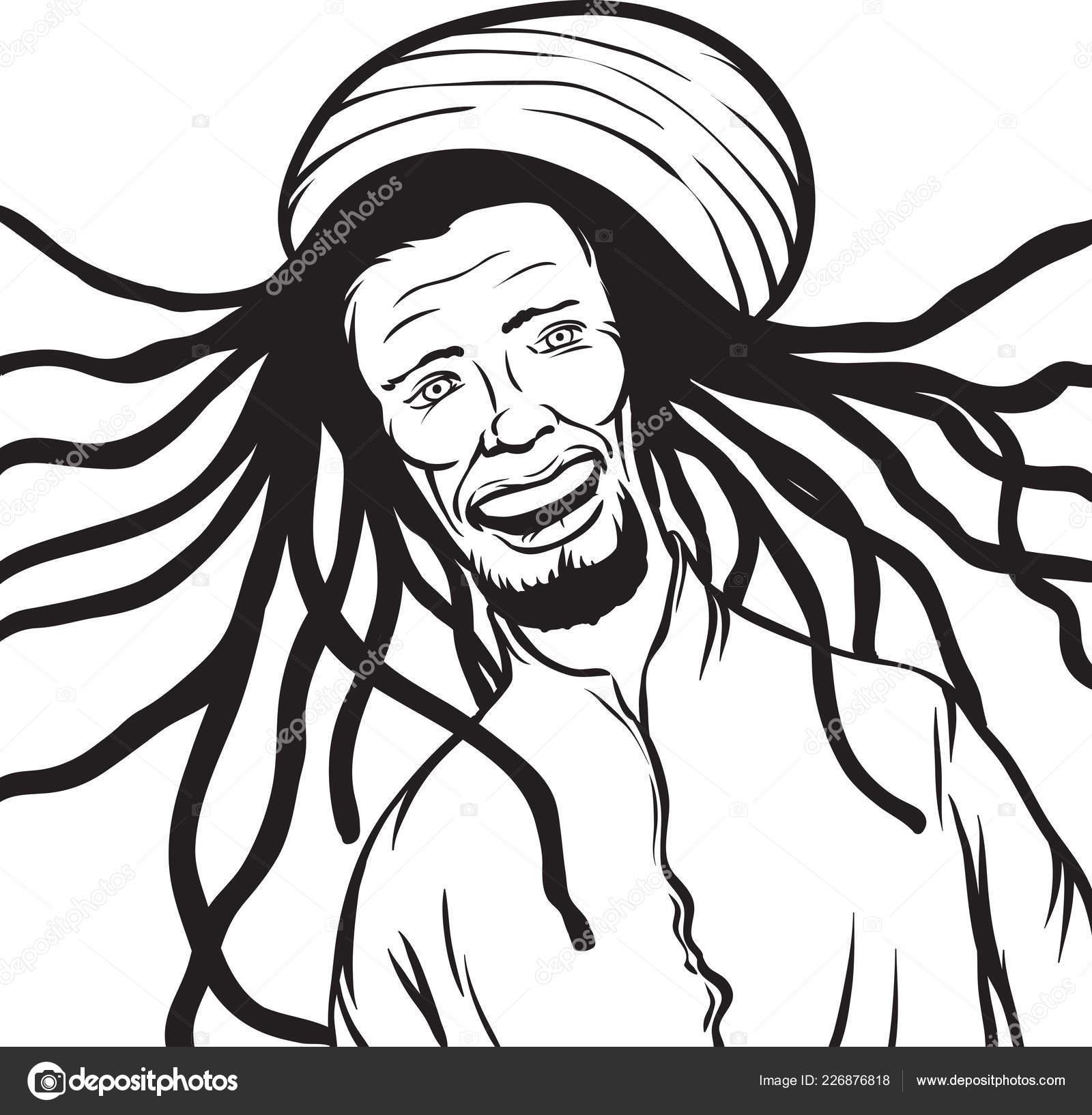 Whiteboard Drawing Reggae Man Smiling Stock Vector