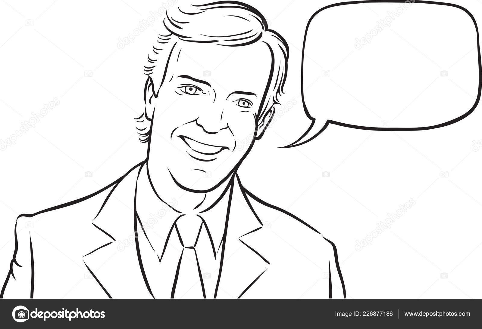 Whiteboard Drawing Smiling Businessman Speech Balloon — Stock Vector