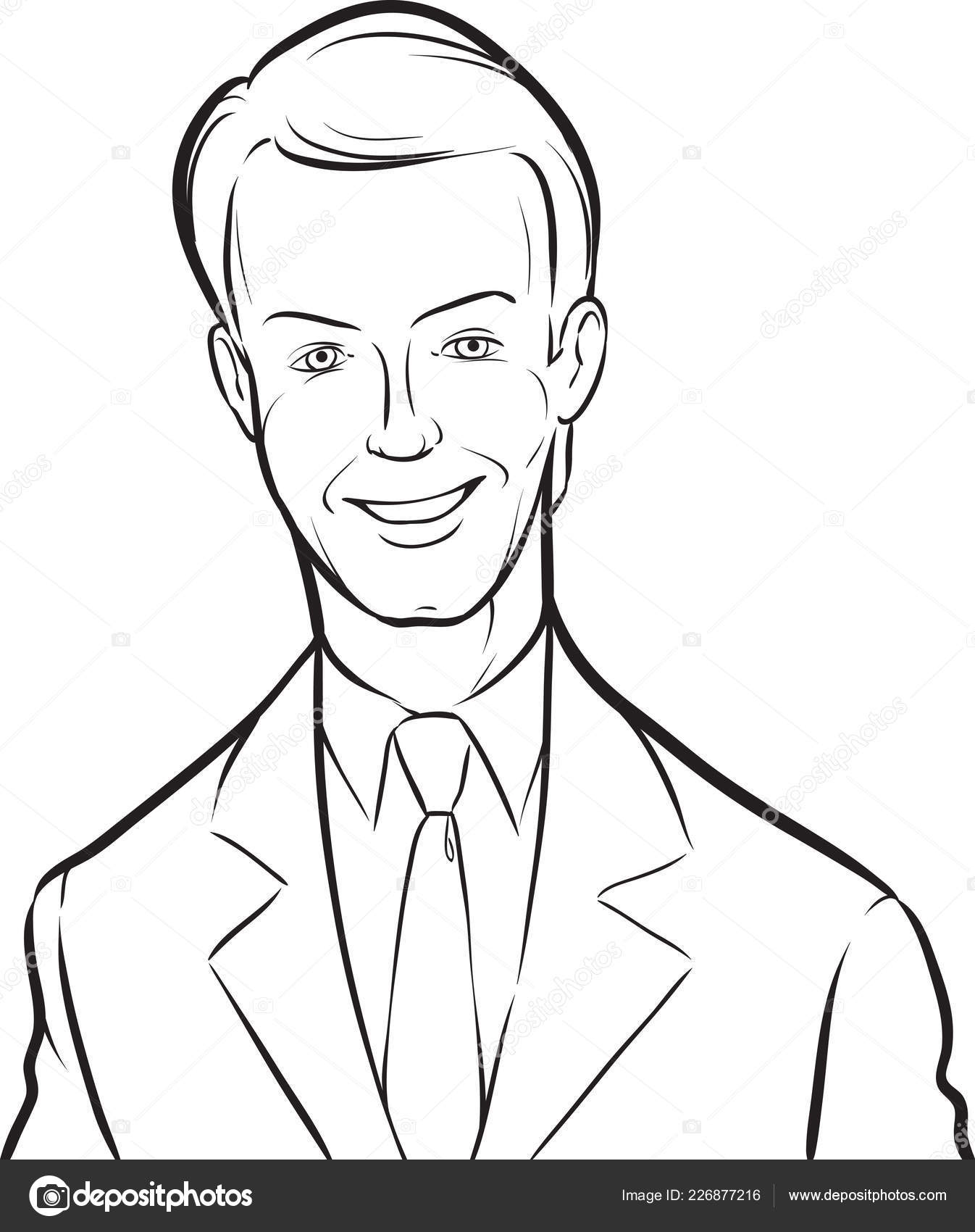 Whiteboard Drawing Smiling Handsome Businessman Easy Edit Layered